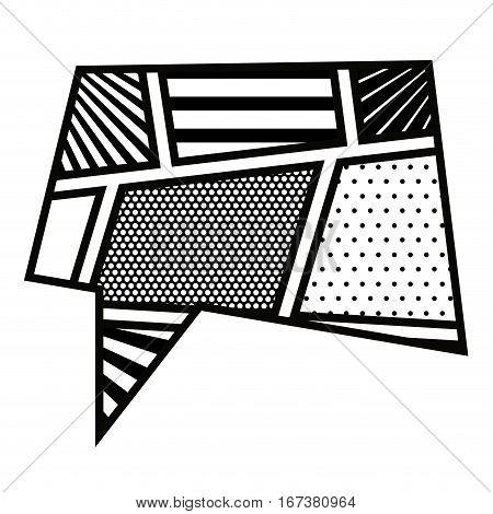 monochrome rectangle callout in pop art vector illustration