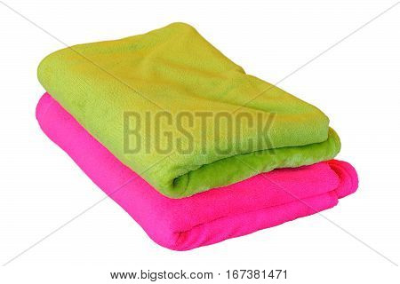 two blankets isolated over white background green and pink