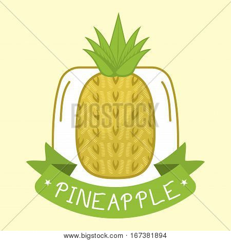Pineapple isolated badge tropical healthy fruit. Sweet ananas tasty food logo. Vintage retro vitamin color nutrition snack sticker. Nature exotic citrus ripe.