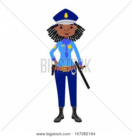 Woman in carnival costume enforcement occupation. Beautiful girl police officer in uniform. Vector illustration portrait young attractive character with weapon.