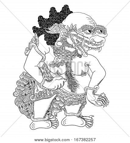 Kilatmeja, a character of traditional puppet show, wayang kulit from java indonesia.