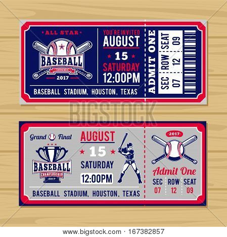 Vector illustration for classical tickets to the championship baseball and softball