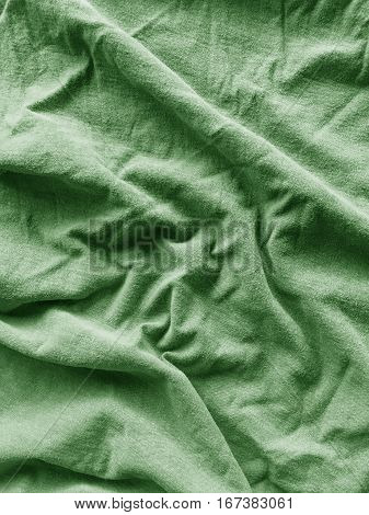 close up green crease textile texture for background