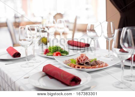 Weding party table in restaurant interior