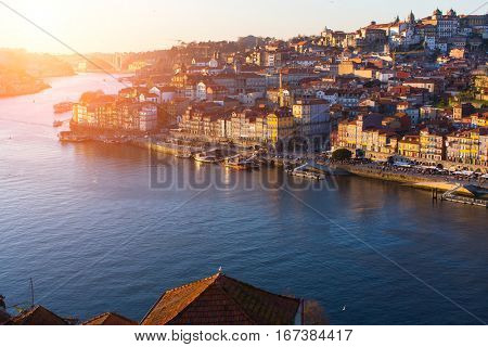 Douro river and Ribeira at sunset, Porto, Portugal.