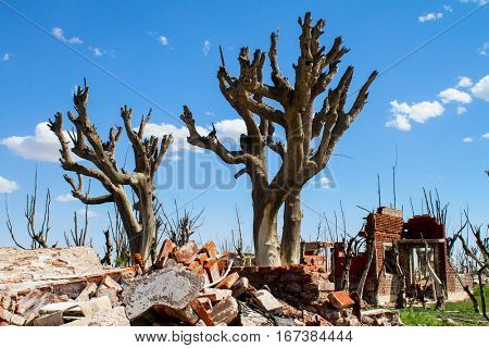 Abandoned ghost city. Ruins of the deceased town in Argentina.