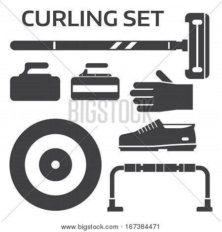 Winter curling sport equipment outline icons set with broom, stone, shoes and other elements. Ice sports essentials silhouettes in black and white.