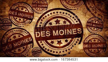 des moines, vintage stamp on paper background