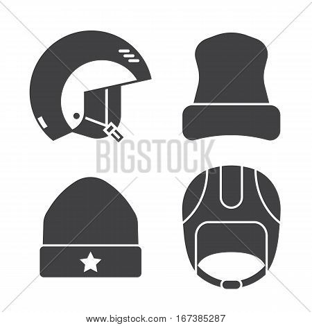 Winter sport head wear icons set. Skiing and snowboarding helmets and caps silhouettes. Snowboarder protective hat in outline design. Winter headgear in monochrome. Snow activity hats.