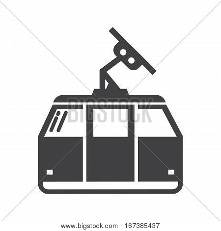Funicular outline vector icon. Cable car monochrome illustration in outline design. Ideal for website, applications, labels and logo creating. Ski lift silhouette.