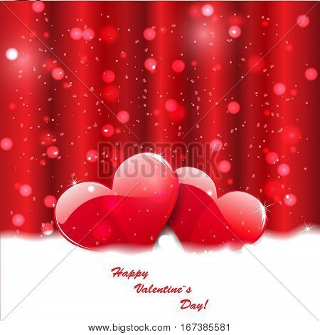 Vector red hearts on abstract background. Valentines day.