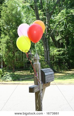 Balloons On A Mailbox