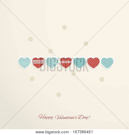 Valentine's day abstract background with red and blue hearts