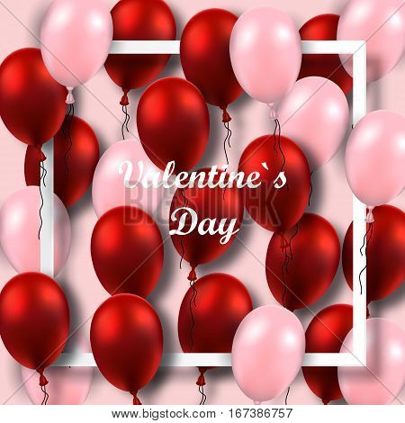 Valentines Day poster with red and pink balloons on white frame.