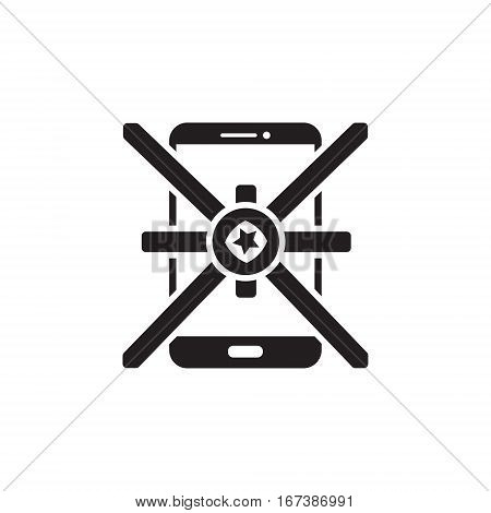 Vector icon or illustration showing mobile internet marketing and advertising with star in one balck color