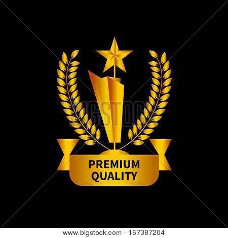Gold cup victory with star and laurel wreath isolated. Sign of quality. Vector illustration.