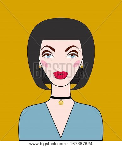 Young woman with choker on neck. Trendy jewelry. Vector illustration.