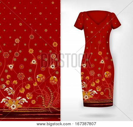 Vector seamless vertical pattern with Decorative ornament, hand drawn texture for clothes, bedclothes, invitation etc. An example of the pattern of the dress mock up. White yellow on brown.
