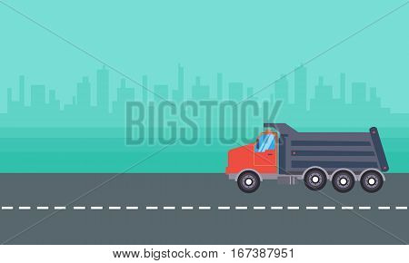 Landscape of dump truck vector collection stock