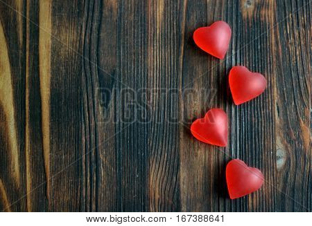 red hearts on wooden background, Valentine's day concept