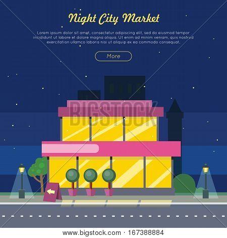 Night city market near road web banner. Flat design supermarket general store, shopping mall and fashion store icon. Marketing, supermarket shelf aisle. Building with big windows. Vector illustration