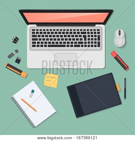 Realistic technology workplace organization. Top view of color work desk with laptop, smartphone, tablet pc, diary, glasses and tablets