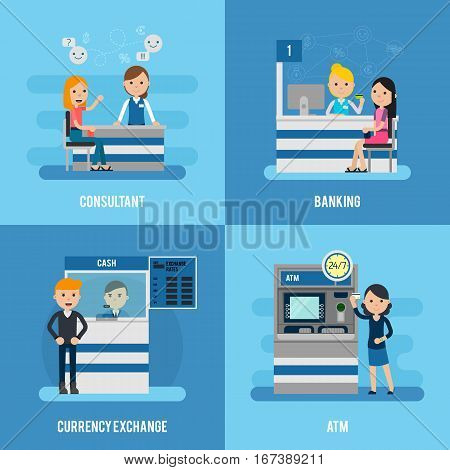 Bank service flat concept with customers and personnel in different situations vector illustration