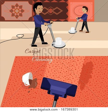 Carpet cleaning service banner. Man in uniform cleaning carpet with commercial cleaning equipment. Carpets chemical cleaning with professionally disk machine. House cleaning concept in flat.
