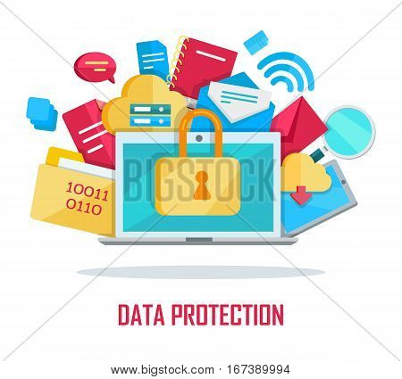 Data protection banner. Blue folder lock icon on white background. File protection. Data security and privacy concept. Safe confidential information. Vector illustration in flat style. poster