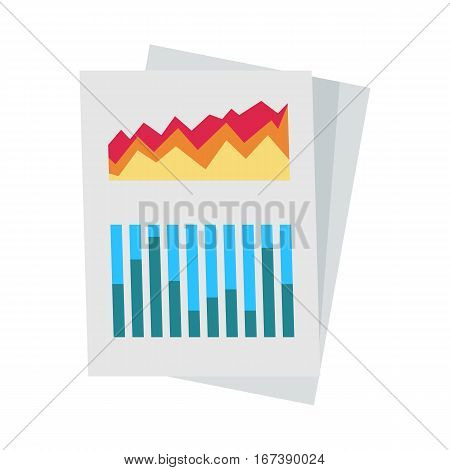 Colour diagram on paper. Diagram icon. Concept of online business, commerce statistics, business analysis, information. Isolated object on white background. Vector illustration.