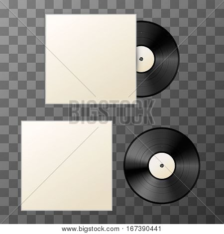 Mockup of blank vinyl disc with cover on transparent background