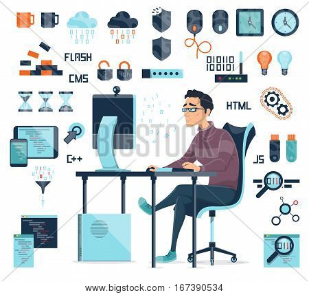 Computer coding icons set with working programmer professional devices and web elements isolated vector illustration