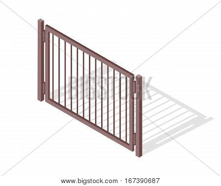 Steel fence section vector. Metal mesh barrier with shadow isometric projection vector illustration isolated on white background. For gaming environment, architecture elements, apps, web design