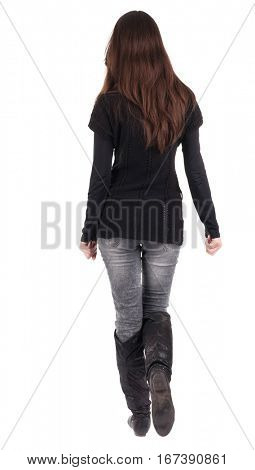 back view of going  woman  in  in jeans and black sweater. beautiful brunette girl in motion.  backside view of person.  Rear view people collection. Isolated over white background.
