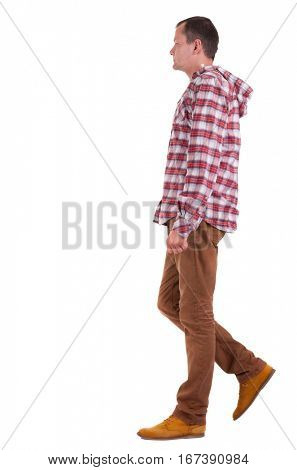 Back view of walking   guy in a plaid shirt with hood.  going young guy in jeans and  jacket. Rear view people collection.  backside view of person.  Isolated over white background.