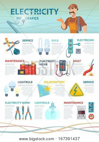 Professional electrician infographic template with colorful electrical tools devices and elements vector illustration