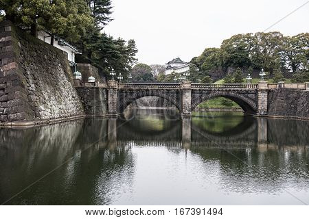 A beautiful bridge on a river can be seen in the picture. By looking at the style of the bridge we can say that it is an old bridge.