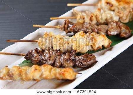 studio shot of YAKITORI Japanese chicken barbecue