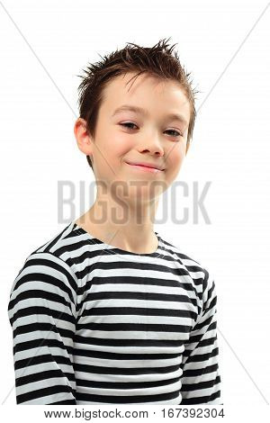 Smiling boy with in striped shirt on white background