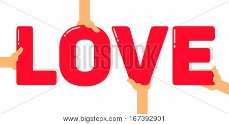 Vector stock of hands holding letters creating love word