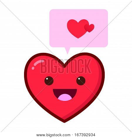 Vector stock of happy smiling heart with speech bubble talking about love