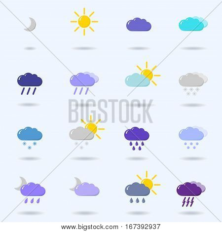 set with different weather icons cloud sun moon rain snow drops