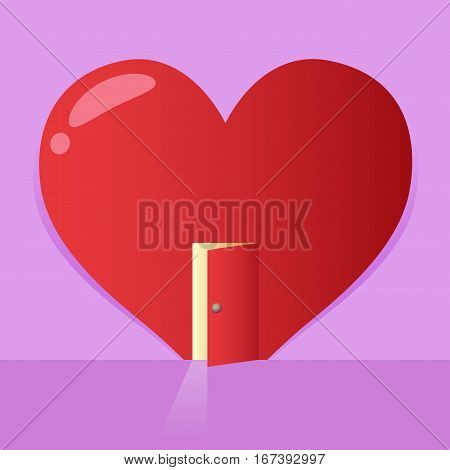Vector stock of a big heart symbol with an open door valentines background