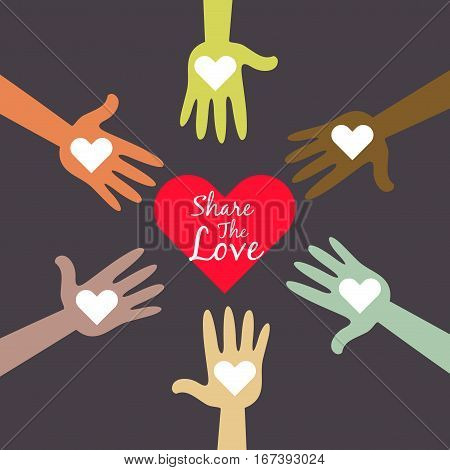 Vector stock of multi colored hands sharing love symbols