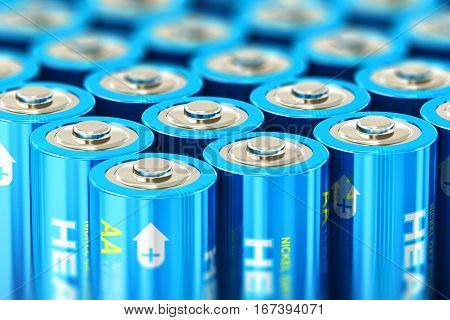 3D render illustration of the macro view of group of blue AA size 1.5 volts alkaline cell batteries or rechargeable accumulators with selective focus effect