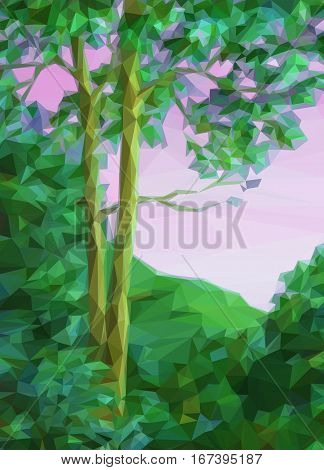 Landscape, Summer Forest with Green Trees, Low Poly. Vector