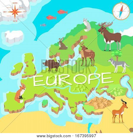Europe isometric map with flora and fauna. Cartography concept with nature. Geographical map with local fauna. Europe part of continent with mammals and sea life. Vector illustration for kids