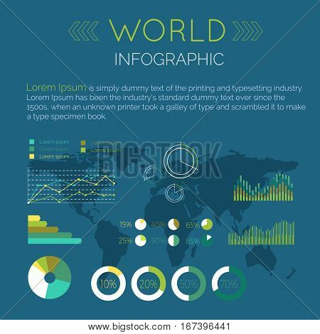 Word Infographic vector. Color circle and line diagrams with data, sample text, word map silhouette on blue background. Flat style illustration for econimical, political, military concepts