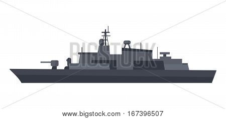 Military warship vector. Coast guard cutter with small-caliber cannon on turret flat illustration isolated on white background. Navy armored boat. For military concept, infographics, icon, web design