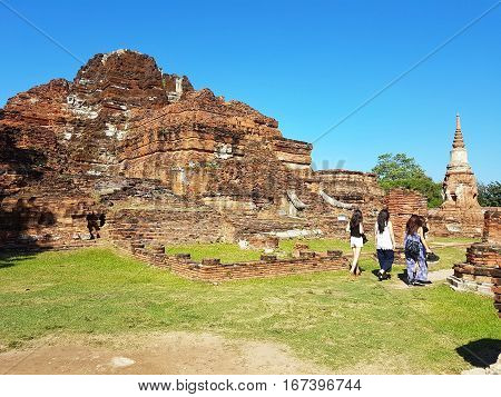 part of Wat Mahathat in the Ayutthaya Historical Park. Thailand.